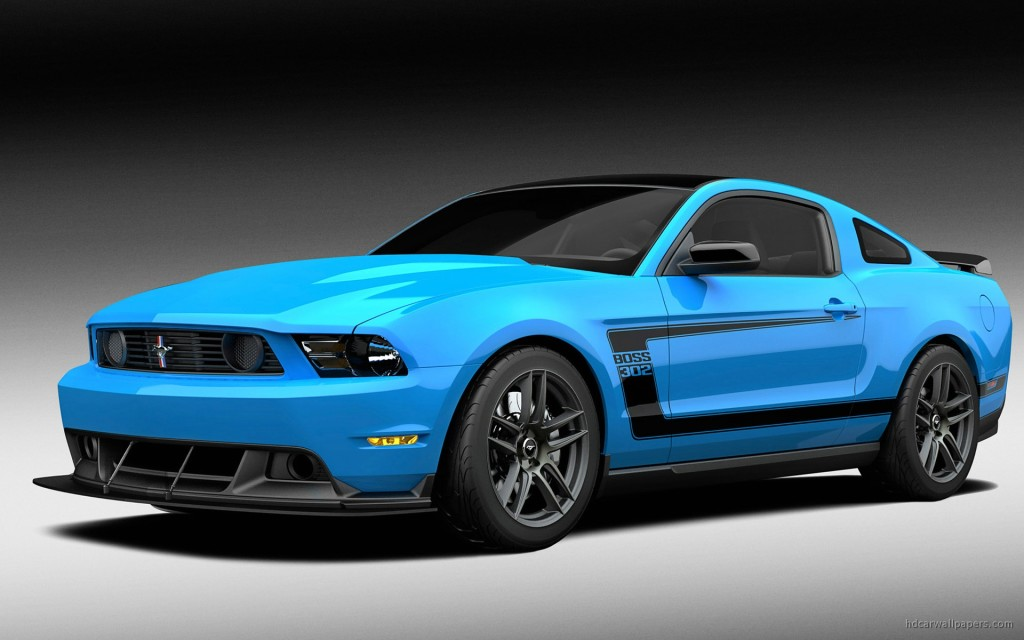 Blue 2012 Ford mustang boss car