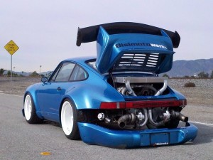 The impressive back engine view of Porsche