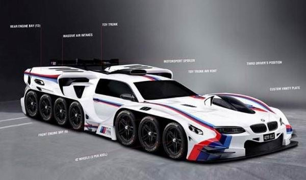 Design Concept BMW Car with 19 Machine Power And 42 Wheels 1