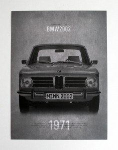 BMW 2002 poster, graphic design