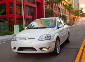 Coda white sedan electric model