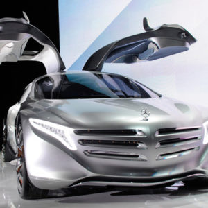 A Mercedes-Benz F125! gullwing coupe research car is displayed