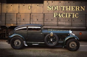 "08 Jul 1985, California, USA — The 1929 Bentley Speed Six Coupe ""Blue Train Bentley"" is the first car to actually race and beat a train over an extended distance, in this case from Cannes to Calais France. The engine powering this beast was a 450bhp version of Bentley's gigantic 6.75-litre twin-turbocharged V8 engine. With a 0-60mph acceleration of 5.5 seconds and a top speed of 168mph the Blue Train Bentley forever rewrote the record books. — Image by © Car Culture/Corbis"