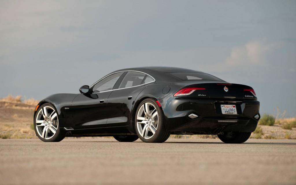 Fisker Karma black rear three quarter view  4