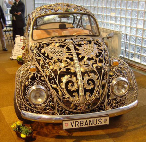 Car with pure gold ornamentation