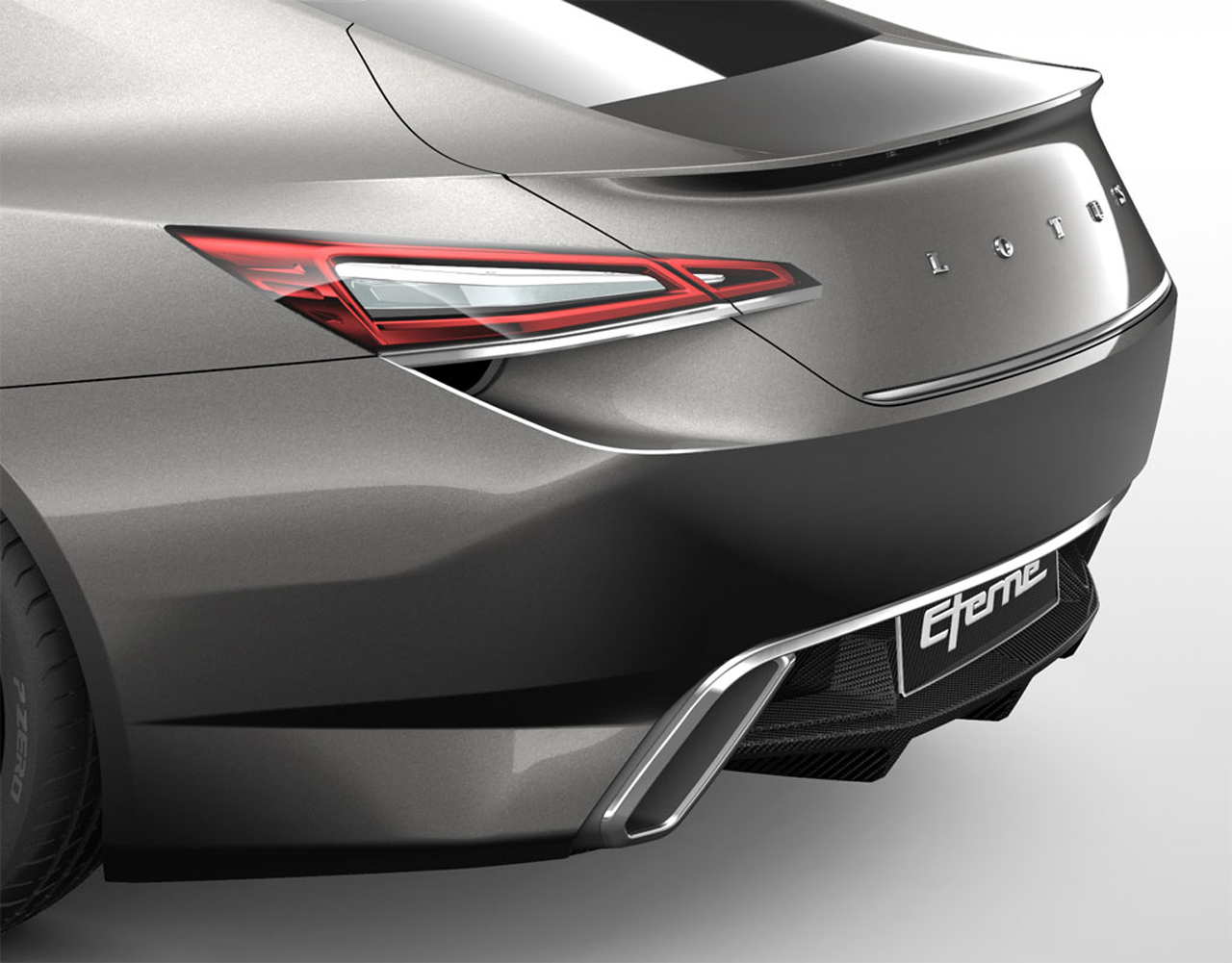 The rear view of 2015 Lotus Eterne 1
