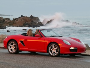 boxster red at beach