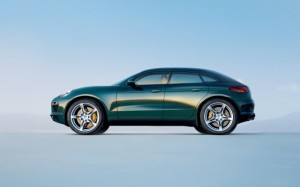 macan green side view