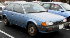 Mazda 323 hatchback blue
