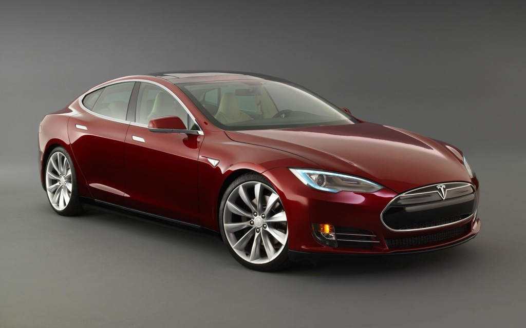 Red Tesla S model car