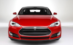 Red colored Tesla Model S