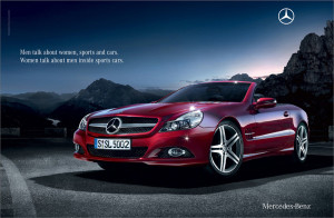 MERCEDES BENZ ADVERTISING A TOP OF THE RANGE CONVERTIBLE SPORTS CAR