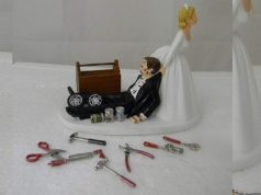 Auto Mechanic Bride and Groom Funny Wedding Cake Topper